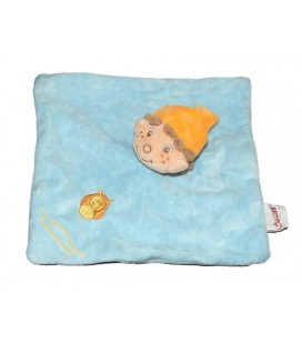 Doudou plat Lutin bleu orange Bengy Escargot
