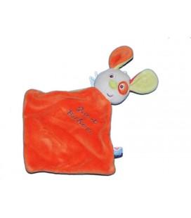 Doudou plat lapin chien orange Joie et Bonheur Sucre d'Orge