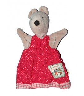 Doudou marionnette Souris Nini grise robe rouge Moulin Roty