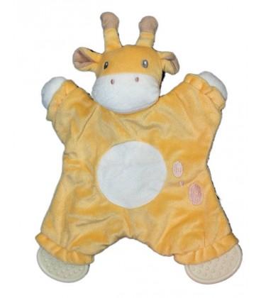 Doudou plat Vache girafe jaune Anneaux de dentition Rond blanc