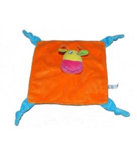 Doudou plat girafe vache orange Logitoys 4 noeuds bleus
