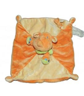 Doudou plat Rhinoceros jaune orange Avda Kiabi Nicotoy
