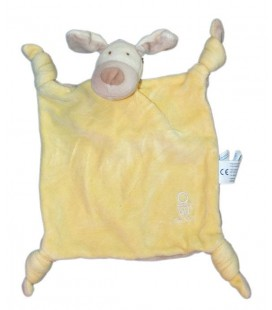 Doudou plat chien jaune beige OBAIBI Okaidi 4 noeuds