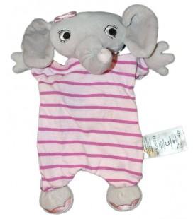 Doudou plat marionnette Elephant gris rose rayures H et M