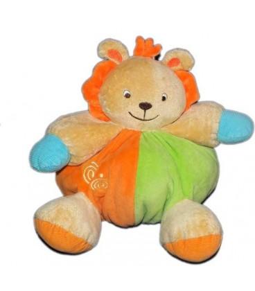 Doudou Lion girfe vert orange LOGITOYS Baby Smile Grelot H 22 cm