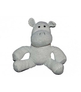 Doudou Zèbre cheval hippopotame gris blanc tissu assis 18 cm