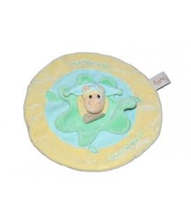 Doudou plat rond HIPPOPOTAME jaune vert Bleu - BABY NAT' Babynat - Mon Petit Hippo...