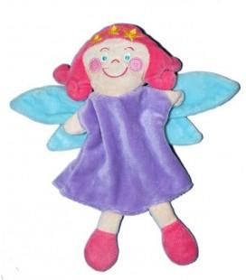 Marionnette doudou Fée Hema Rose mauve violet bleue 26 cm