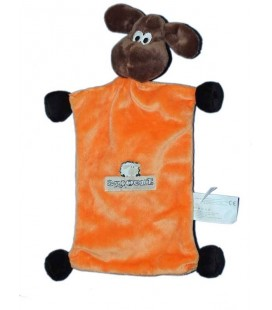 Doudou plat Mouton orange Brioche brun marron 30 cm