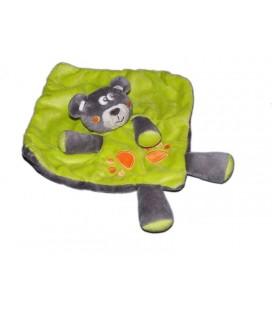 Doudou plat Ours gris vert Kimbaloo Empreintes pattes