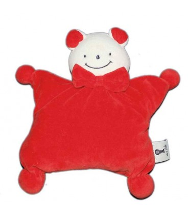 Doudou semi plat coussin ours souris rouge There is no Like Art Noeud papillon