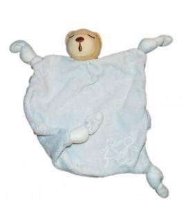 Doudou plat Ours dormeur Kaloo bleu Enfants 4 noeuds