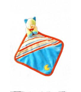 Doudou CHaT jaune bleu orange - Mouchoir - Baby Luna - Lune brodée