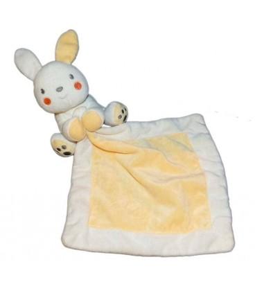 Doudou Lapin blanc mouchoir jaune Vêtir