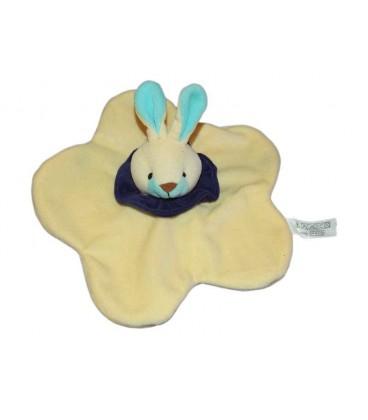 Doudou plat Lapin jaune Naima Collerette bleue nez marron