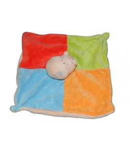Doudou plat Hippopotame Playkids Zeeman rouge bleu orange vert