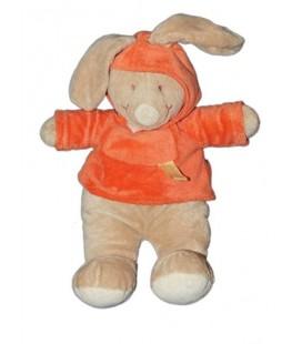 Doudou Peluche Lapin beige pull orange Kimbaloo 35 cm