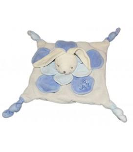 Doudou plat Lapin bleu Nounours 4 noeuds Fleur