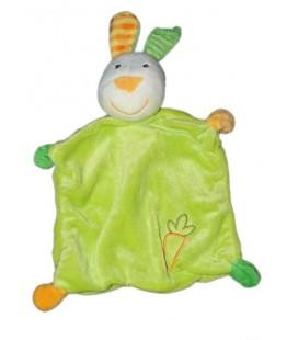 Doudou plat Lapin Vert Baby Club C et A carotte orange