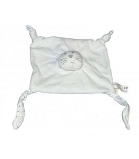 Doudou Plat Chat blanc Bout'Chou Monoprix Etoiles grises 4 noeuds