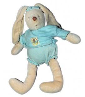 MOULIN ROTY Doudou Lapin beige bleu 28 cm Un dimanche au bord de l'eau