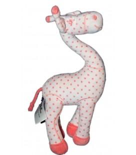 TAPE A L'OEIL TAO Doudou Girafe blanche rose Etoiles Grelot 30 cm