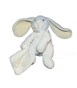 Doudou et Compagnie Lapin bleu clair Mouchoir blanc mon doudou Fleur