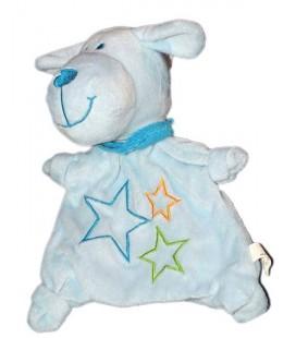 Doudou Marionnette Chien bleu etoiles Foulard CP International