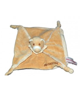 Doudou plat Ours beige Orchestra 4 noeuds