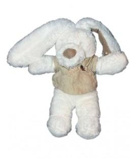 Doudou Lapin blanc beige Pommette chemise lin 22 cm