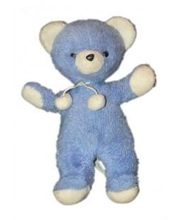 Vintage - Peluche ours ancien bleu blanc de Marque Nounours 34 cm Pompons