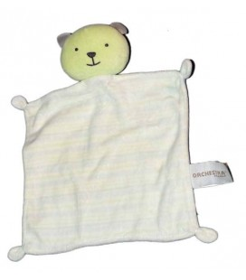 Doudou plat Ours blanc vert rayures Orchestra 4 noeuds