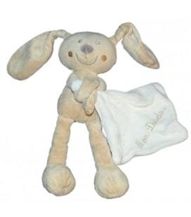 Doudou Lapin blanc beige Mouchoir Blanc Pommette Mon doudou 24 cm
