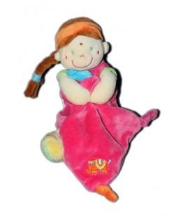 Doudou Fille indienne Mouchoir rose Pommette 21 cm tresse