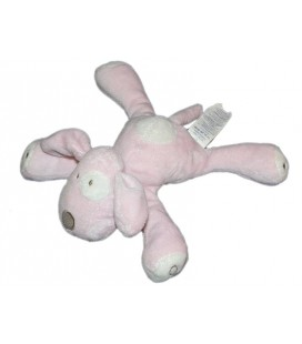 Doudou chien rose blanc cocard OBAIBI OKAIDI 22 cm
