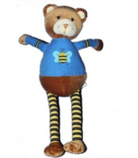 OBAIBI OKAIDI Doudou Ours marron bleu abeille 26 cm