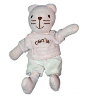 OBAIBI OKAIDI Doudou chat rose 22 cm