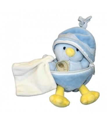Doudou POUSSIN CANARD bleu jaune Mouchoir Blanc - BaBY NaT Babynat