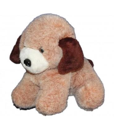 Ancien chien en peluche marron beige Joual Vintage 25x30 cm