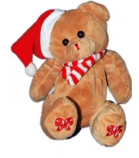 Peluche doudou Ours marron bonnet rouge Noël Alphom poche dans le dos