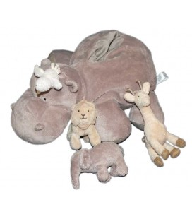Doudou peluche HIPOPOTAME gris et ses animaux JACADI 30 cm