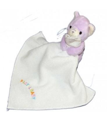 Doudou Chat mauve Mouchoir Blanc Pastel Baby