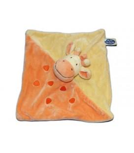 Doudou Plat Girafe vache jaune orange Mots d'Enfants