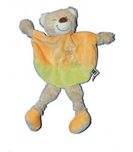 Doudou plat Ours vert orange Jungle Tex Baby Carrefour