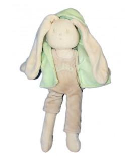 Doudou Lapin Aubisou Aubert Gilet vert 26 cm