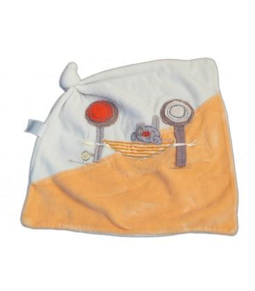 Doudou plat Ours blanc orange Lapin Hamac 1 noeud