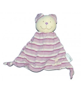 Doudou plat Chat mauve rayures Kiabi Baby en tissu