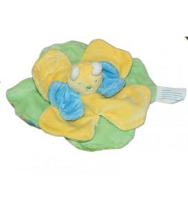 Doudou plat Papillon jaune vert bleu Kimbaloo Dessous tissu vert
