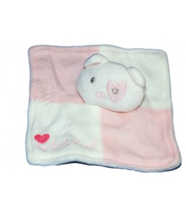 Doudou plat Ours blanc rose My Little Heart Coeur