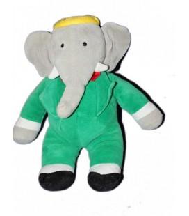 Peluche Doudou Elephant BABAR Gris vert AJENA NOUNOURS 34 cm